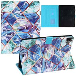 Green and Blue Stitching Color Marble Leather Flip Cover for Apple iPad Air 4 (4th Gen) 10.9 2020