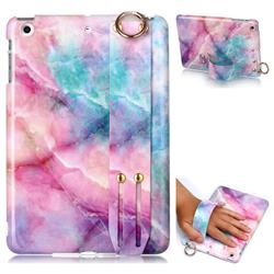 Dream Green Marble Clear Bumper Glossy Rubber Silicone Wrist Band Tablet Stand Holder Cover for iPad Mini 1 2 3