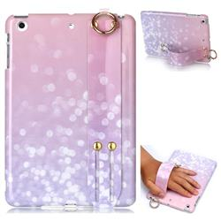 Glitter Pink Marble Clear Bumper Glossy Rubber Silicone Wrist Band Tablet Stand Holder Cover for iPad Mini 1 2 3