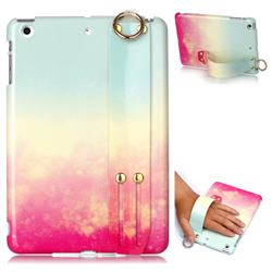 Sunset Glow Marble Clear Bumper Glossy Rubber Silicone Wrist Band Tablet Stand Holder Cover for iPad Mini 1 2 3
