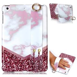 Stitching Rose Marble Clear Bumper Glossy Rubber Silicone Wrist Band Tablet Stand Holder Cover for iPad Mini 1 2 3