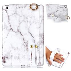 White Smooth Marble Clear Bumper Glossy Rubber Silicone Wrist Band Tablet Stand Holder Cover for iPad Mini 1 2 3