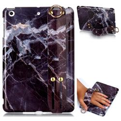 Gray Stone Marble Clear Bumper Glossy Rubber Silicone Wrist Band Tablet Stand Holder Cover for iPad Mini 1 2 3