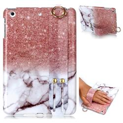Glittering Rose Gold Marble Clear Bumper Glossy Rubber Silicone Wrist Band Tablet Stand Holder Cover for iPad Mini 1 2 3