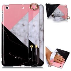Tricolor Marble Clear Bumper Glossy Rubber Silicone Wrist Band Tablet Stand Holder Cover for iPad Mini 1 2 3