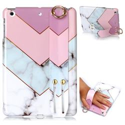 Stitching Pink Marble Clear Bumper Glossy Rubber Silicone Wrist Band Tablet Stand Holder Cover for iPad Mini 1 2 3