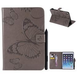 Embossing 3D Butterfly Leather Wallet Case for iPad Mini 1 2 3 - Gray