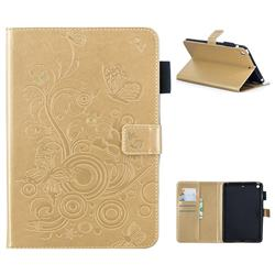 Intricate Embossing Butterfly Circle Leather Wallet Case for iPad Mini 1 2 3 - Champagne