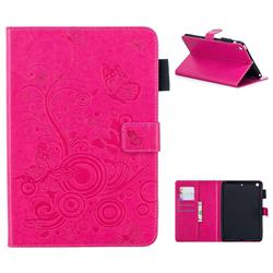 Intricate Embossing Butterfly Circle Leather Wallet Case for iPad Mini 1 2 3 - Red