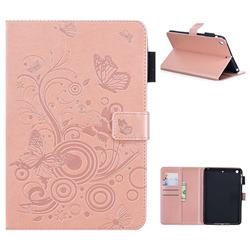 Intricate Embossing Butterfly Circle Leather Wallet Case for iPad Mini 1 2 3 - Rose Gold