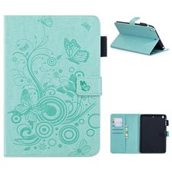 Intricate Embossing Butterfly Circle Leather Wallet Case for iPad Mini 1 2 3 - Cyan