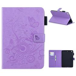 Intricate Embossing Butterfly Circle Leather Wallet Case for iPad Mini 1 2 3 - Purple