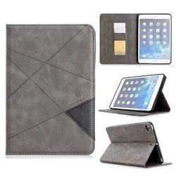 Binfen Color Prismatic Slim Magnetic Sucking Stitching Wallet Flip Cover for iPad Mini 1 2 3 - Gray