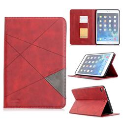 Binfen Color Prismatic Slim Magnetic Sucking Stitching Wallet Flip Cover for iPad Mini 1 2 3 - Red