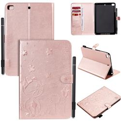 Embossing Bee and Cat Leather Flip Cover for iPad Mini 1 2 3 - Rose Gold
