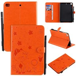 Embossing Bee and Cat Leather Flip Cover for iPad Mini 1 2 3 - Orange