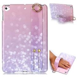 Glitter Pink Marble Clear Bumper Glossy Rubber Silicone Wrist Band Tablet Stand Holder Cover for iPad Mini 4