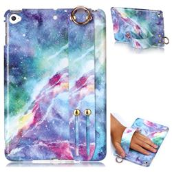 Blue Starry Sky Marble Clear Bumper Glossy Rubber Silicone Wrist Band Tablet Stand Holder Cover for iPad Mini 4