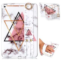 Inverted Triangle Powder Marble Clear Bumper Glossy Rubber Silicone Wrist Band Tablet Stand Holder Cover for iPad Mini 4