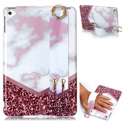 Stitching Rose Marble Clear Bumper Glossy Rubber Silicone Wrist Band Tablet Stand Holder Cover for iPad Mini 4