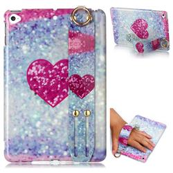 Glitter Rose Heart Marble Clear Bumper Glossy Rubber Silicone Wrist Band Tablet Stand Holder Cover for iPad Mini 4