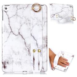 White Smooth Marble Clear Bumper Glossy Rubber Silicone Wrist Band Tablet Stand Holder Cover for iPad Mini 4