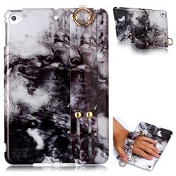 Smoke Ink Painting Marble Clear Bumper Glossy Rubber Silicone Wrist Band Tablet Stand Holder Cover for iPad Mini 4