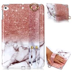 Glittering Rose Gold Marble Clear Bumper Glossy Rubber Silicone Wrist Band Tablet Stand Holder Cover for iPad Mini 4