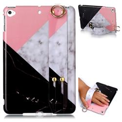 Tricolor Marble Clear Bumper Glossy Rubber Silicone Wrist Band Tablet Stand Holder Cover for iPad Mini 4