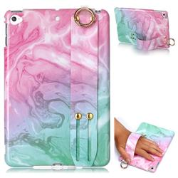 Pink Green Marble Clear Bumper Glossy Rubber Silicone Wrist Band Tablet Stand Holder Cover for iPad Mini 4