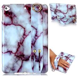 Bloody Lines Marble Clear Bumper Glossy Rubber Silicone Wrist Band Tablet Stand Holder Cover for iPad Mini 4