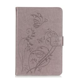 Embossing Butterfly Flower Leather Wallet Case for iPad Mini 4 - Grey