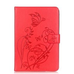Embossing Butterfly Flower Leather Wallet Case for iPad Mini 4 - Red