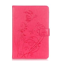 Embossing Butterfly Flower Leather Wallet Case for iPad Mini 4 - Rose