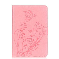 Embossing Butterfly Flower Leather Wallet Case for iPad Mini 4 - Pink