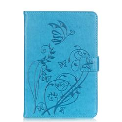 Embossing Butterfly Flower Leather Wallet Case for iPad Mini 4 - Blue
