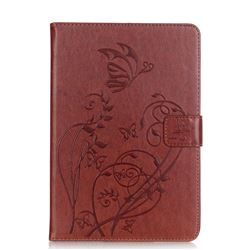 Embossing Butterfly Flower Leather Wallet Case for iPad Mini 4 - Brown