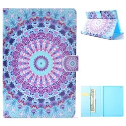 Mint Green Mandala Flower Folio Flip Stand Leather Wallet Case for iPad Mini 4