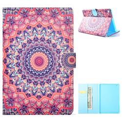 Orange Mandala Flower Folio Flip Stand Leather Wallet Case for iPad Mini 4