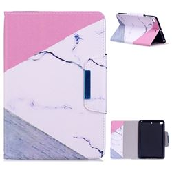 Triangle Marble Folio Flip Stand Leather Wallet Case for iPad Mini 4