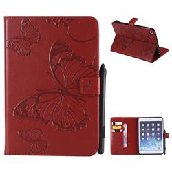 Embossing 3D Butterfly Leather Wallet Case for iPad Mini 4 - Red
