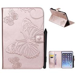 Embossing 3D Butterfly Leather Wallet Case for iPad Mini 4 - Rose Gold