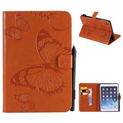 Embossing 3D Butterfly Leather Wallet Case for iPad Mini 4 - Orange