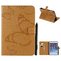 Embossing 3D Butterfly Leather Wallet Case for iPad Mini 4 - Yellow