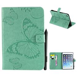 Embossing 3D Butterfly Leather Wallet Case for iPad Mini 4 - Green