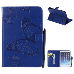 Embossing 3D Butterfly Leather Wallet Case for iPad Mini 4 - Blue