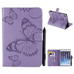 Embossing 3D Butterfly Leather Wallet Case for iPad Mini 4 - Purple