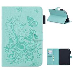 Intricate Embossing Butterfly Circle Leather Wallet Case for iPad Mini 4 - Cyan