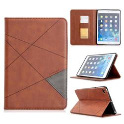 Binfen Color Prismatic Slim Magnetic Sucking Stitching Wallet Flip Cover for iPad Mini 4 - Brown