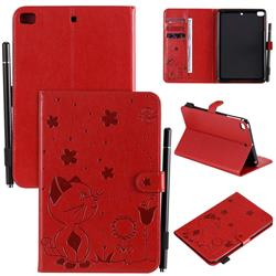 Embossing Bee and Cat Leather Flip Cover for iPad Mini 4 - Red